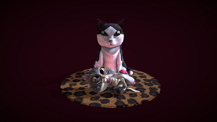 Two Good Cattos 3D Model