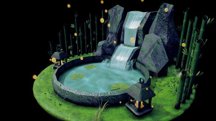 Waterfall Pond 3D Model