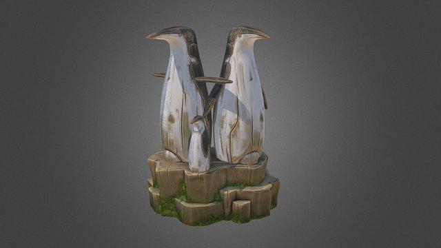 Pinguins wooden statue 3D Model