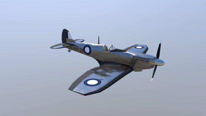 Spitfire with cockpit V3 3D Model