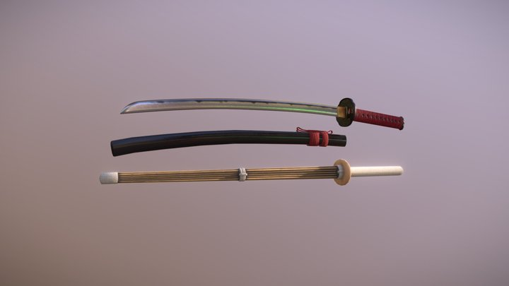Katana and bamboo sword 3D Model