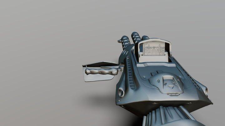 Triple Chaingun cannon 3D Model