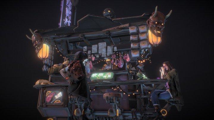 Neon Slums - Night Market Yatai 3D Model