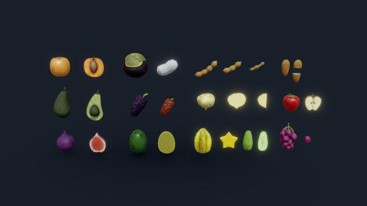 Stylized Fruit Lowpoly Pack #1 3D Model