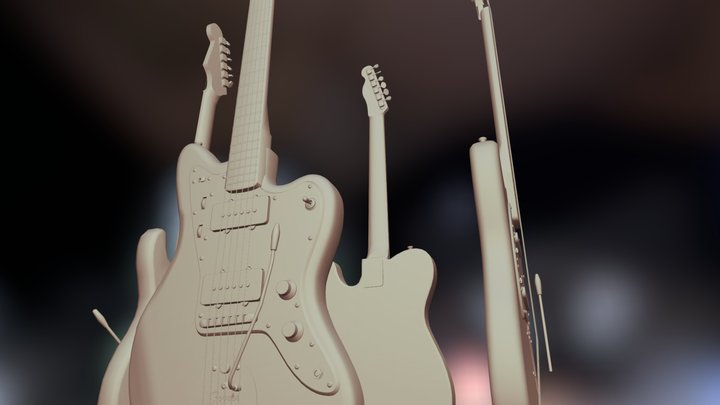 a few Fender guitars (WIP) 3D Model