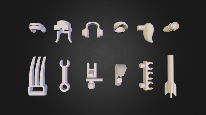 ModiBot Kickstarter 12  Bonus Accessories 3D Model