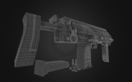 Computrons MP7 Sub-D Wireframe 3D Model