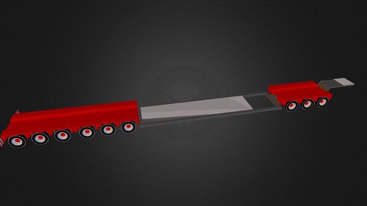 adjustable flatbed trailer 3D Model