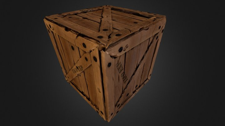 Low poly Crate 3D Model