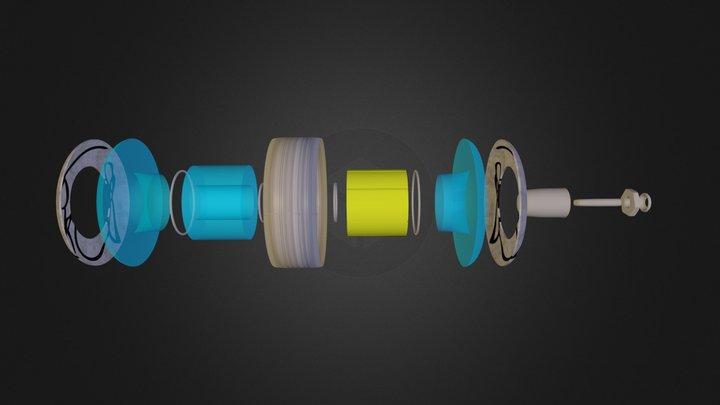 Scott Pilgrim Skateboard - Exploded Wheel 3D Model