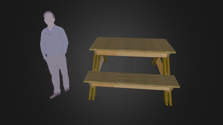 2x6 Picnic Table 3D Model