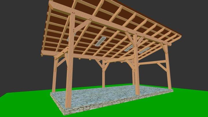 14x30 Timber Frame Shed Barn 3D Model
