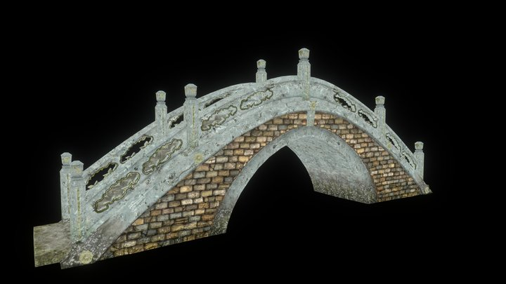 Asian Bridge 3D Model