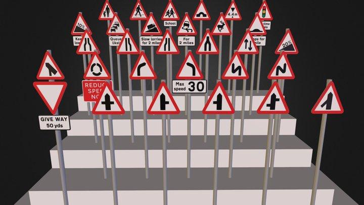 UK Traffic Signs - Warning Signs - Vol1b 3D Model