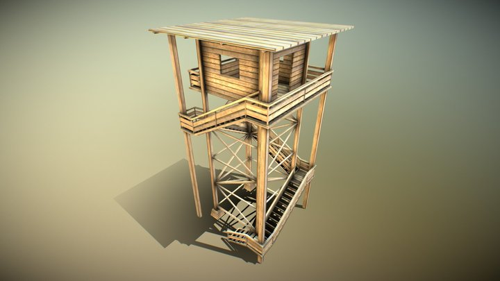 Wooden Watch Tower (Low-Poly) 3D Model